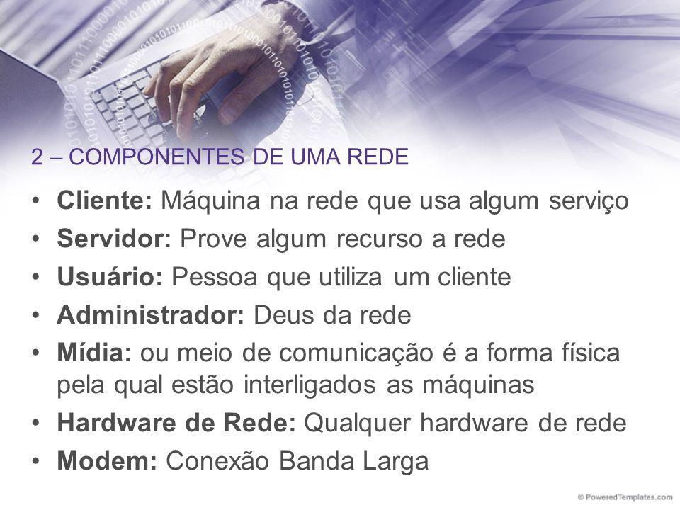 2 – COMPONENTES DE UMA REDE Cliente: Máquina na rede que usa algum serviço Servidor: Prove algum recurso a rede Usuário: Pessoa que utiliza um cliente