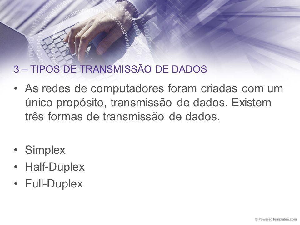 3 – TIPOS DE TRANSMISSÃO DE DADOS As redes de computadores foram criadas com um único propósito, transmissão de dados. Existem três formas de transmis