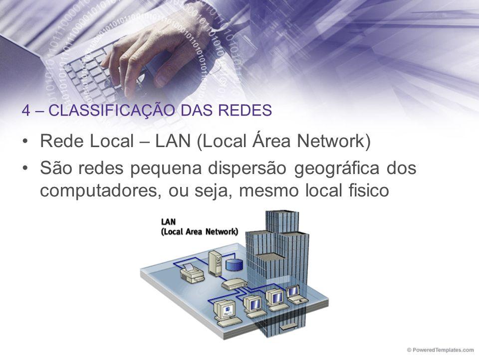 4 – CLASSIFICAÇÃO DAS REDES Rede Local – LAN (Local Área Network) São redes pequena dispersão geográfica dos computadores, ou seja, mesmo local fisico