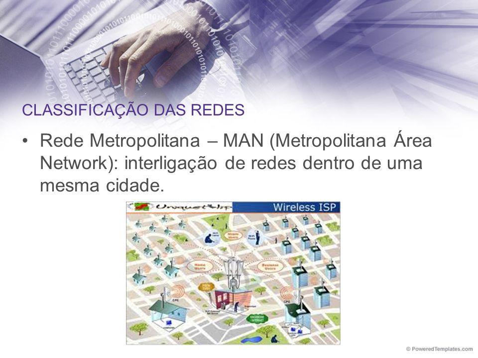 CLASSIFICAÇÃO DAS REDES Rede Metropolitana – MAN (Metropolitana Área Network): interligação de redes dentro de uma mesma cidade.