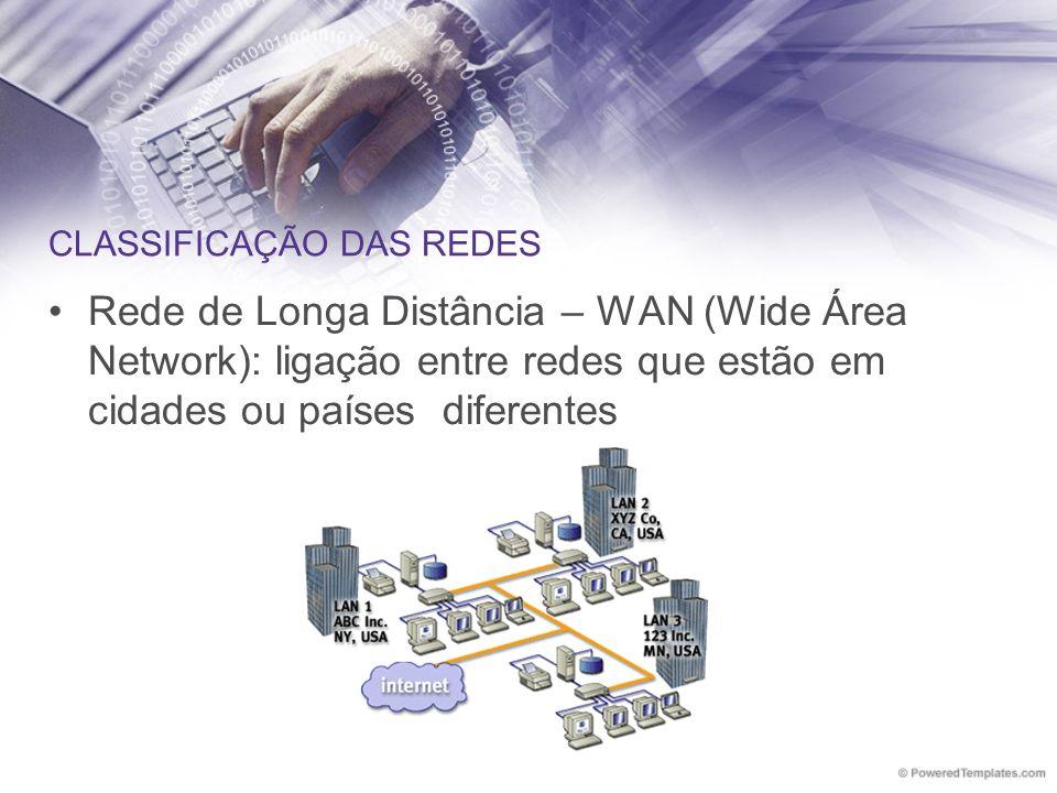 CLASSIFICAÇÃO DAS REDES Rede de Longa Distância – WAN (Wide Área Network): ligação entre redes que estão em cidades ou países diferentes