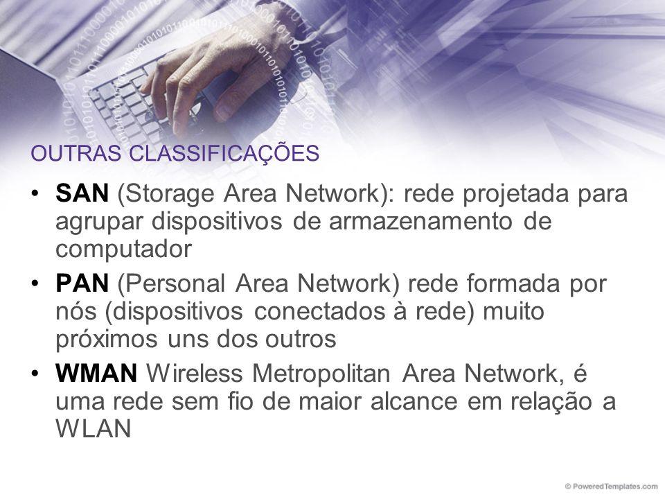 OUTRAS CLASSIFICAÇÕES SAN (Storage Area Network): rede projetada para agrupar dispositivos de armazenamento de computador PAN (Personal Area Network)