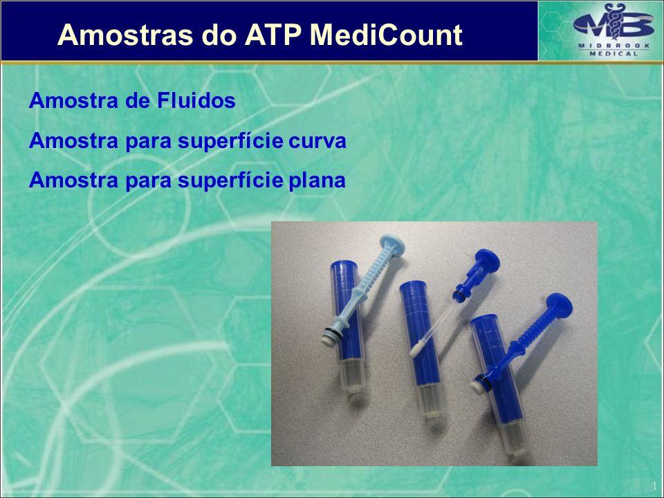 Amostras do ATP MediCount Amostra de Fluidos Amostra para superfície curva Amostra para superfície plana