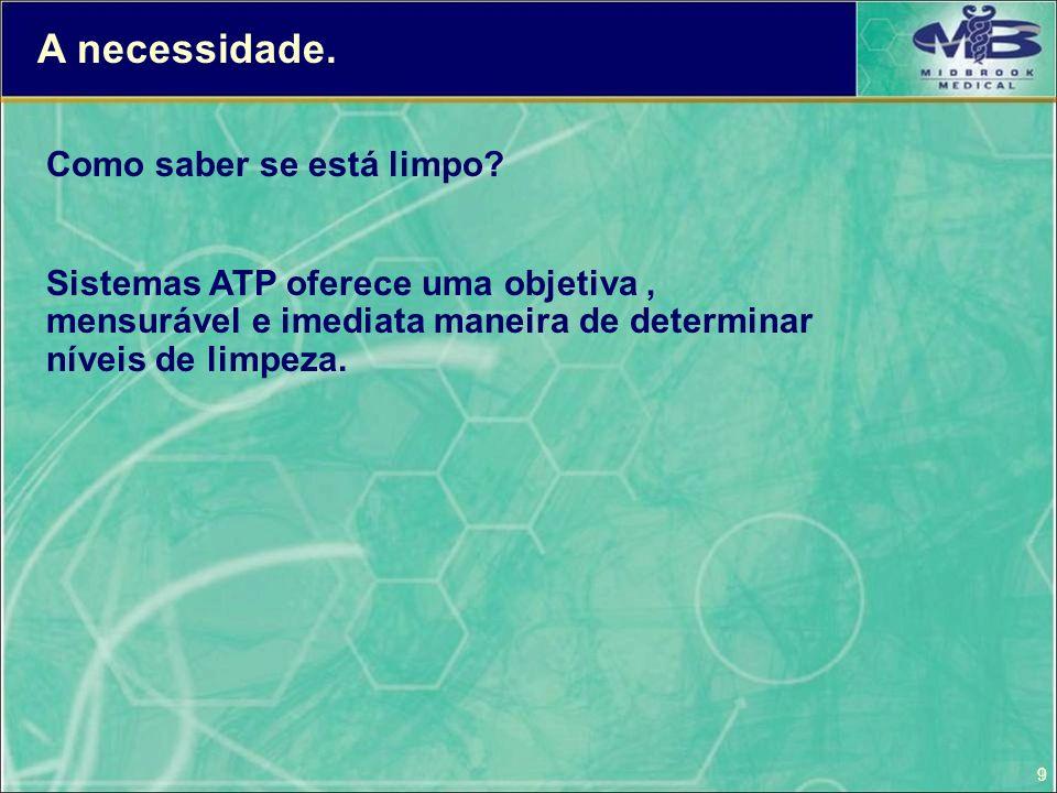 9 Como saber se está limpo? Sistemas ATP oferece uma objetiva, mensurável e imediata maneira de determinar níveis de limpeza. A necessidade.