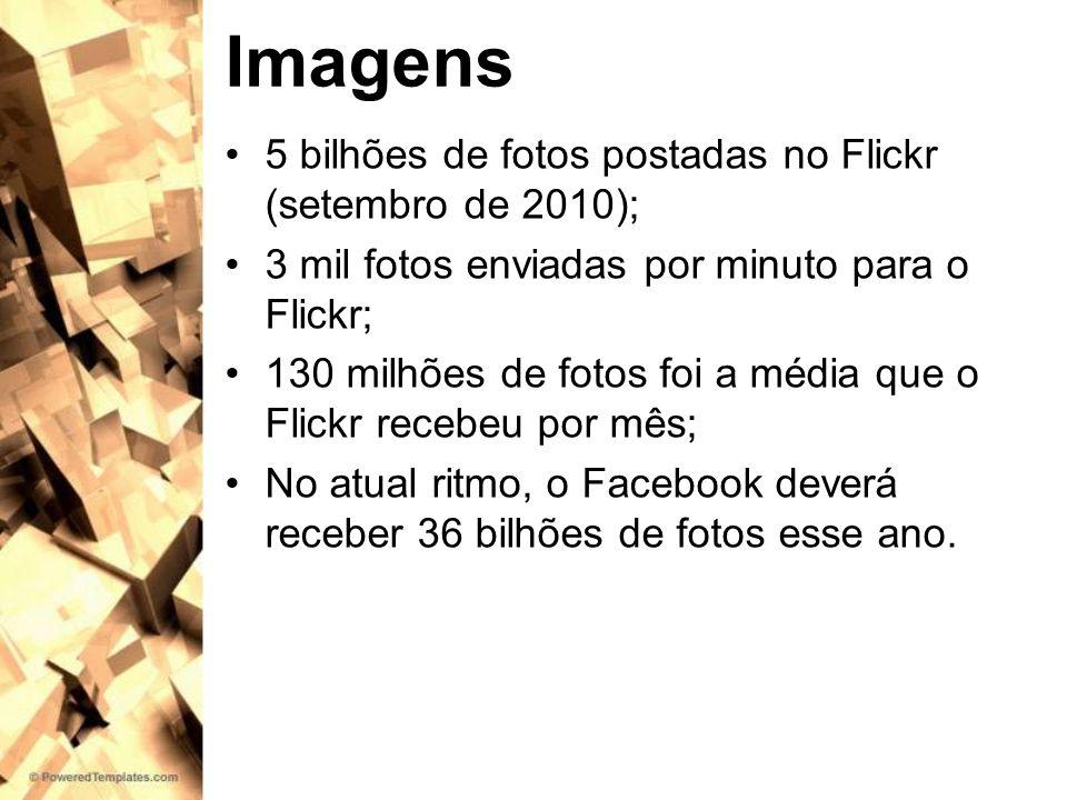Imagens 5 bilhões de fotos postadas no Flickr (setembro de 2010); 3 mil fotos enviadas por minuto para o Flickr; 130 milhões de fotos foi a média que