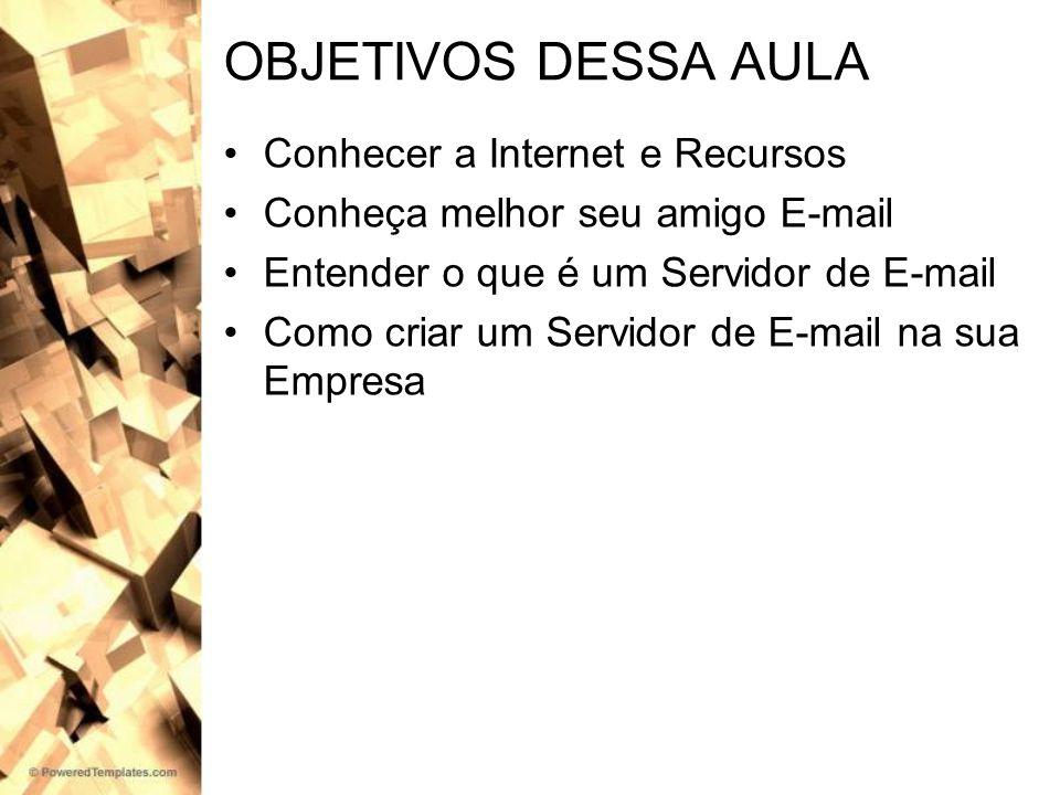 OBJETIVOS DESSA AULA Conhecer a Internet e Recursos Conheça melhor seu amigo E-mail Entender o que é um Servidor de E-mail Como criar um Servidor de E