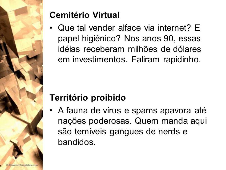Cemitério Virtual Que tal vender alface via internet? E papel higiênico? Nos anos 90, essas idéias receberam milhões de dólares em investimentos. Fali
