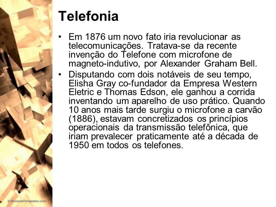 Telefonia Em 1876 um novo fato iria revolucionar as telecomunicações. Tratava-se da recente invenção do Telefone com microfone de magneto-indutivo, po