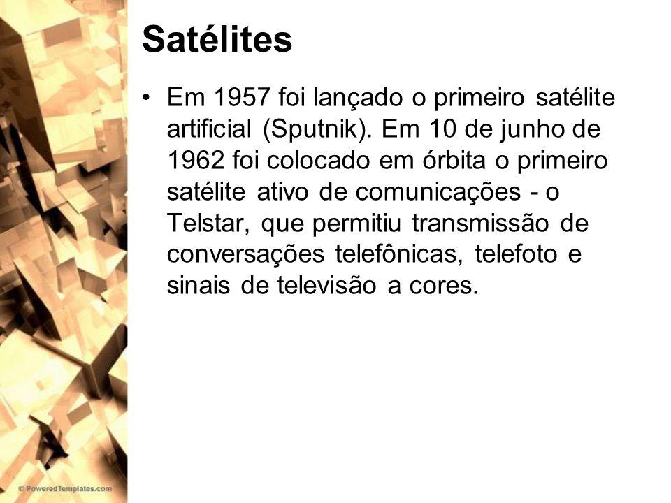 Satélites Em 1957 foi lançado o primeiro satélite artificial (Sputnik). Em 10 de junho de 1962 foi colocado em órbita o primeiro satélite ativo de com