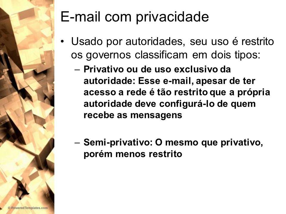 E-mail com privacidade Usado por autoridades, seu uso é restrito os governos classificam em dois tipos: –Privativo ou de uso exclusivo da autoridade: