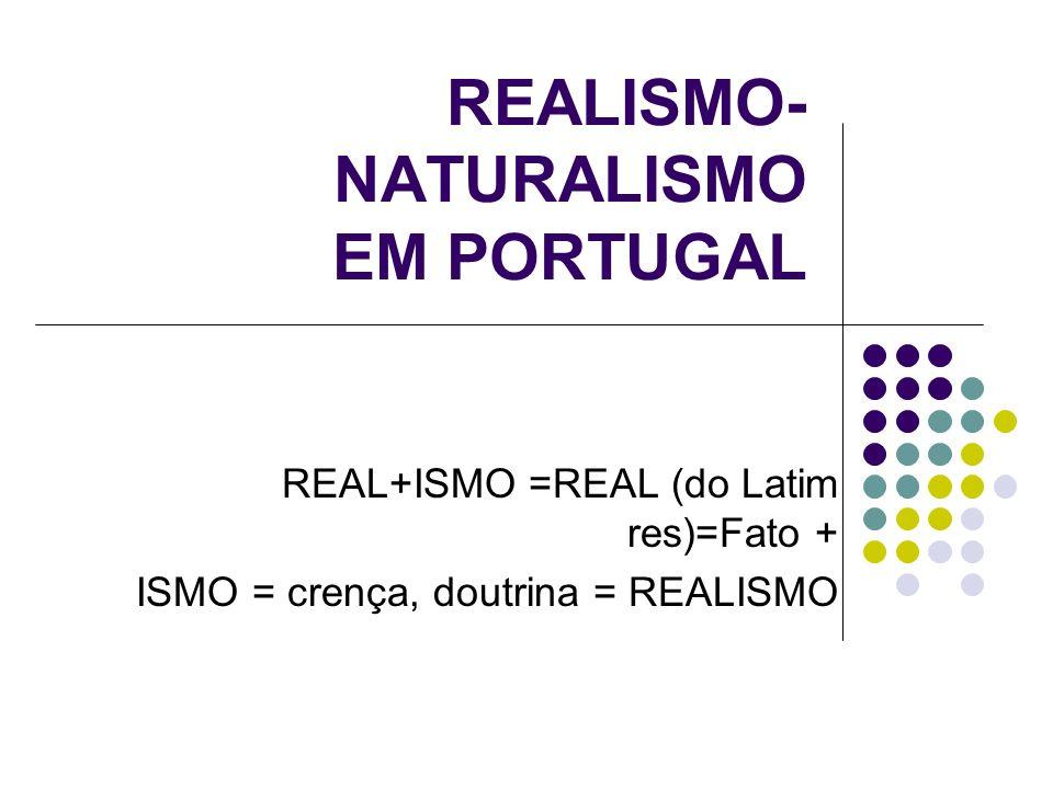 REALISMO- NATURALISMO EM PORTUGAL REAL+ISMO =REAL (do Latim res)=Fato + ISMO = crença, doutrina = REALISMO