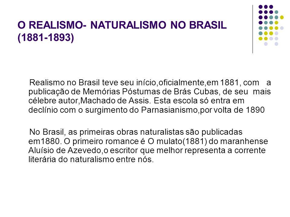 O REALISMO- NATURALISMO NO BRASIL (1881-1893) Realismo no Brasil teve seu início,oficialmente,em 1881, com a publicação de Memórias Póstumas de Brás C
