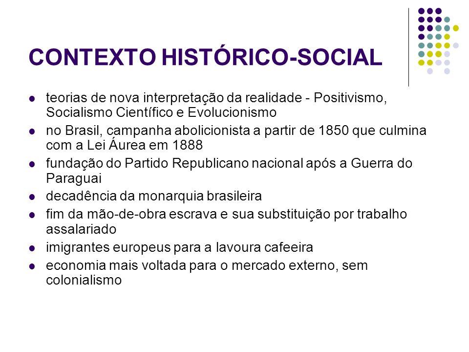 CONTEXTO HISTÓRICO-SOCIAL teorias de nova interpretação da realidade - Positivismo, Socialismo Científico e Evolucionismo no Brasil, campanha abolicio