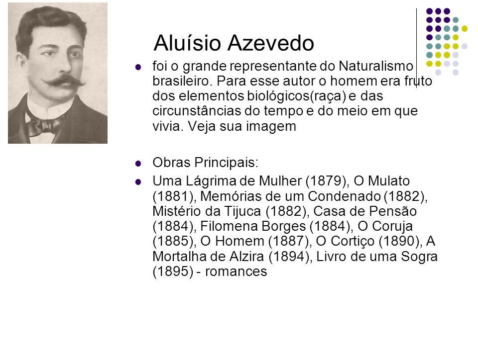 Aluísio Azevedo foi o grande representante do Naturalismo brasileiro. Para esse autor o homem era fruto dos elementos biológicos(raça) e das circunstâ