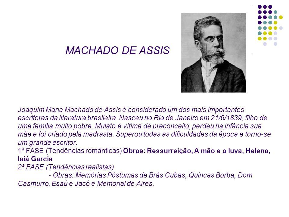 DO DE ASSIS MACHADO DE ASSIS Joaquim Maria Machado de Assis é considerado um dos mais importantes escritores da literatura brasileira. Nasceu no Rio d