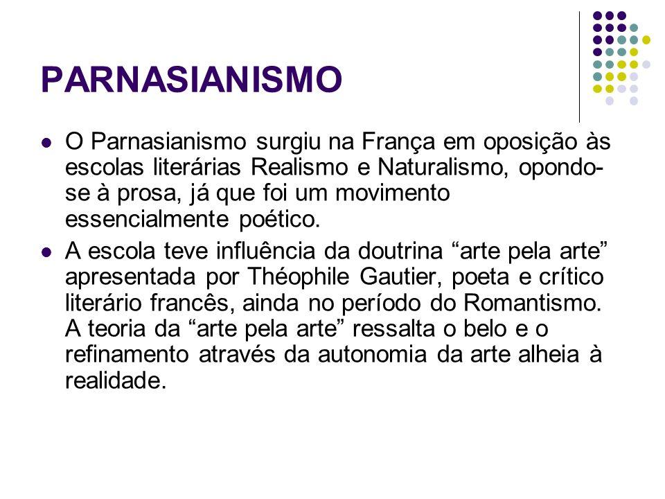 PARNASIANISMO O Parnasianismo surgiu na França em oposição às escolas literárias Realismo e Naturalismo, opondo- se à prosa, já que foi um movimento e
