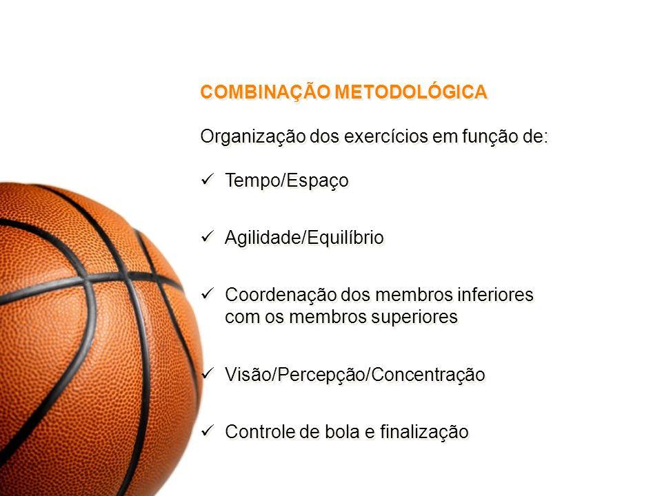 COMBINAÇÃO METODOLÓGICA Organização dos exercícios em função de: Tempo/Espaço Agilidade/Equilíbrio Coordenação dos membros inferiores com os membros s