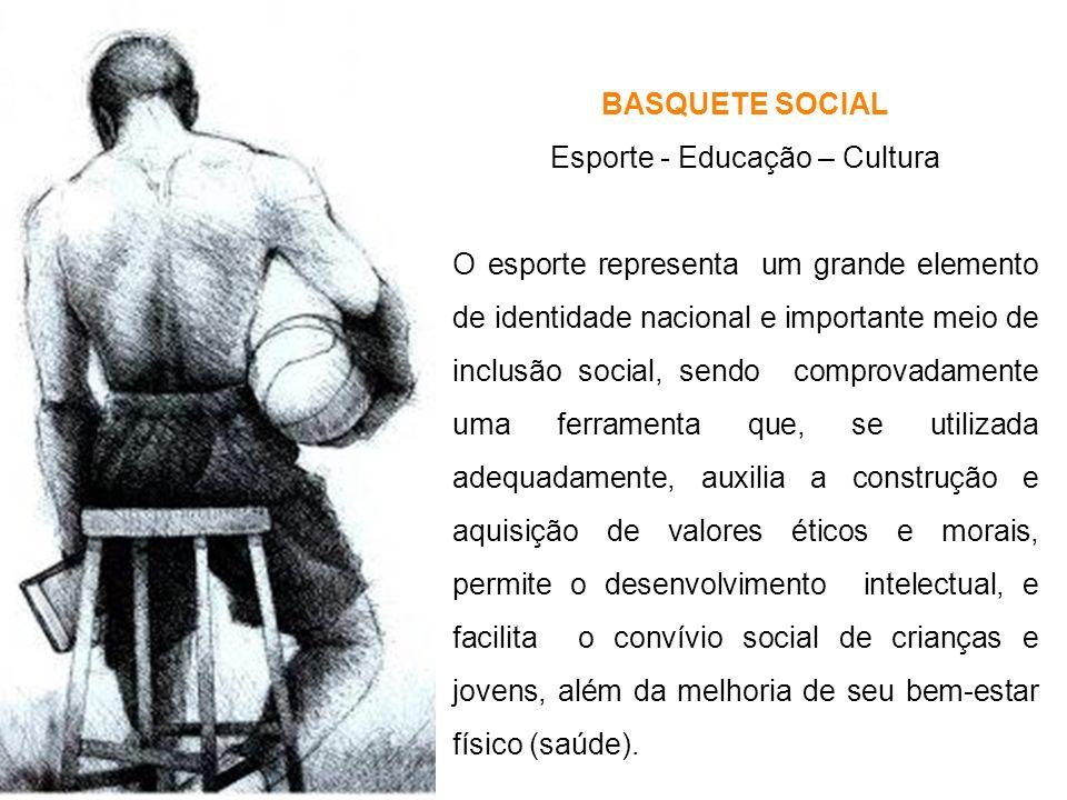 BASQUETE SOCIAL Esporte - Educação – Cultura O esporte representa um grande elemento de identidade nacional e importante meio de inclusão social, send