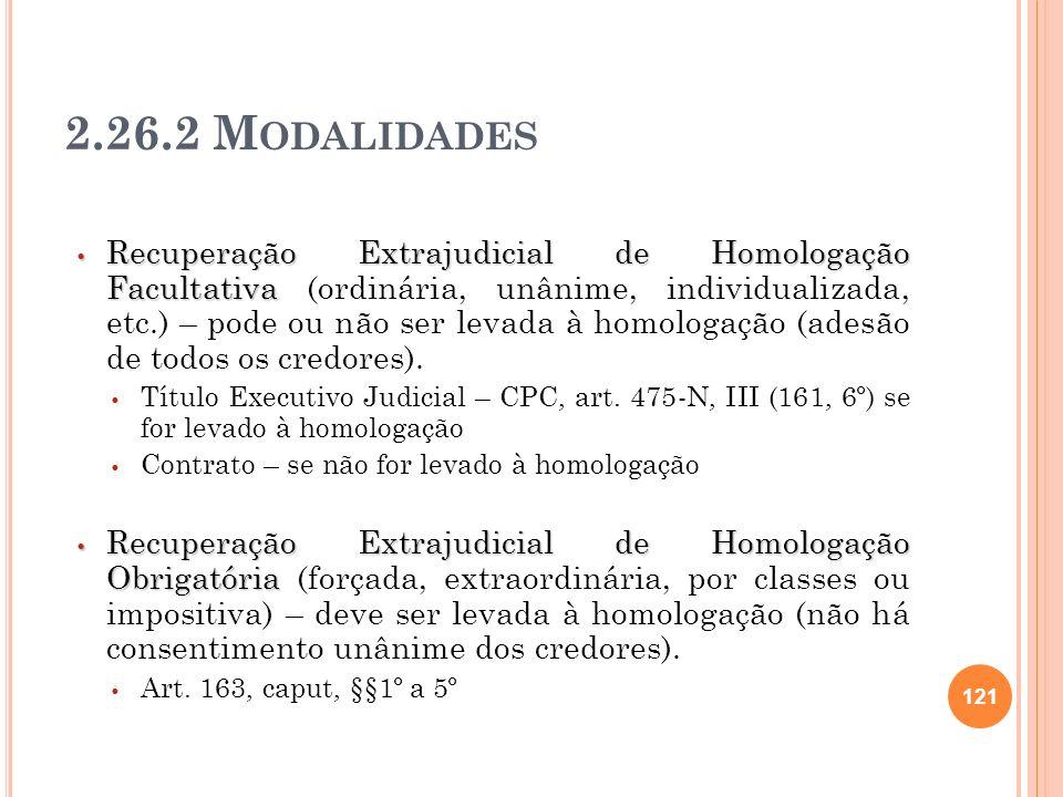 2.26.2 M ODALIDADES Recuperação Extrajudicial de Homologação Facultativa Recuperação Extrajudicial de Homologação Facultativa (ordinária, unânime, ind