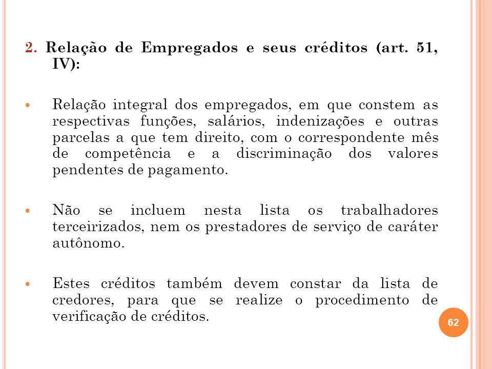 62 2. Relação de Empregados e seus créditos (art. 51, IV): Relação integral dos empregados, em que constem as respectivas funções, salários, indenizaç