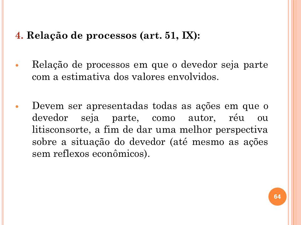 64 4. Relação de processos (art. 51, IX): Relação de processos em que o devedor seja parte com a estimativa dos valores envolvidos. Devem ser apresent