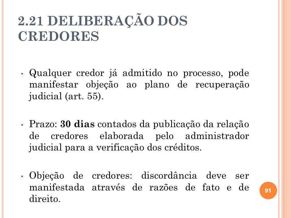 2.21 DELIBERAÇÃO DOS CREDORES Qualquer credor já admitido no processo, pode manifestar objeção ao plano de recuperação judicial (art. 55). Prazo: 30 d