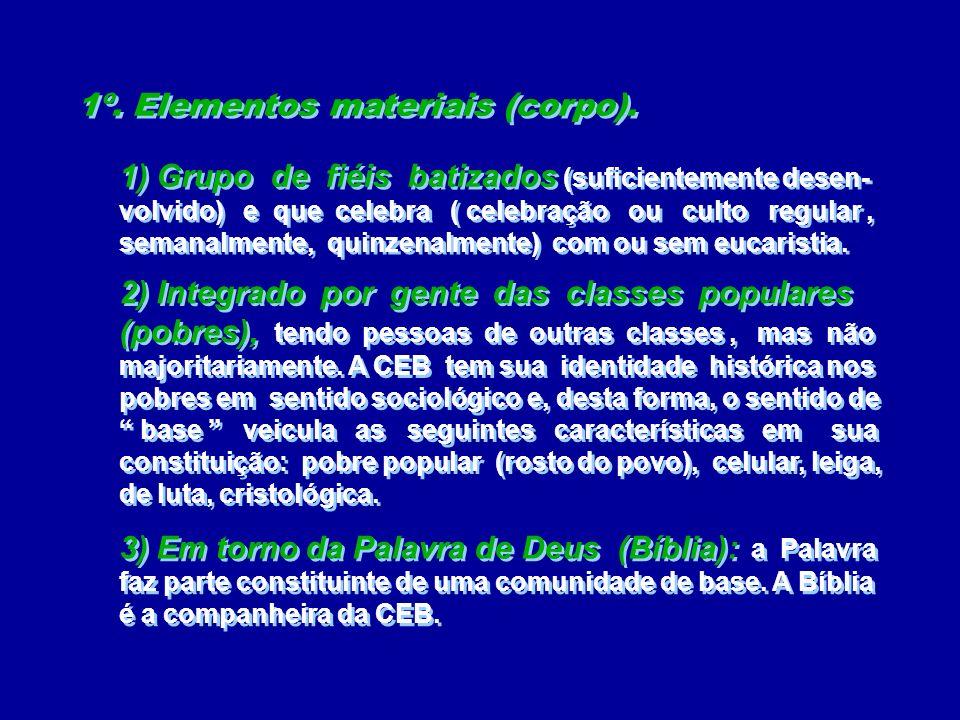 1º. Elementos materiais (corpo). 1º. Elementos materiais (corpo). 1) Grupo de fiéis batizados (suficientemente desen- volvido) e que celebra ( celebra
