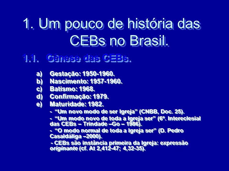 1.1. Gênese das CEBs. 1.1. Gênese das CEBs. a)Gestação: 1950-1960. b)Nascimento: 1957-1960. c)Batismo: 1968. d)Confirmação: 1979. e)Maturidade: 1982.