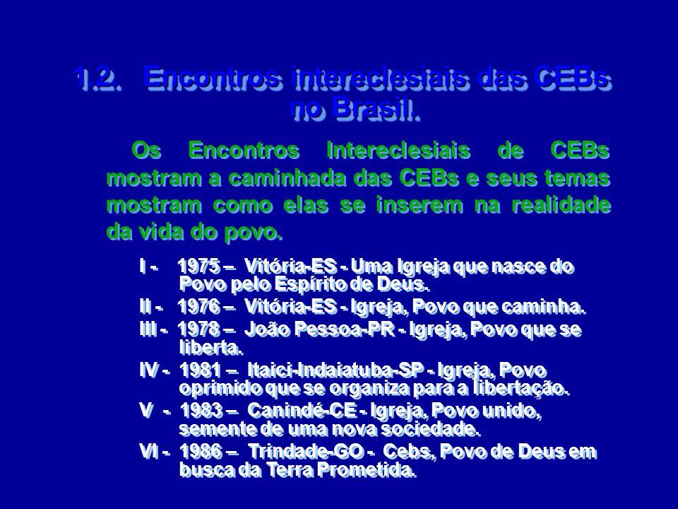 1.2. Encontros intereclesiais das CEBs no Brasil. 1.2. Encontros intereclesiais das CEBs no Brasil. I - 1975 – Vitória-ES - Uma Igreja que nasce do Po