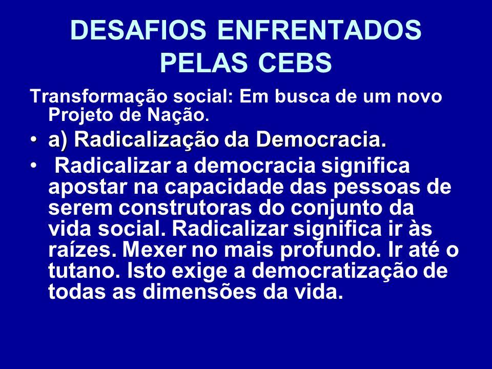 DESAFIOS ENFRENTADOS PELAS CEBS Transformação social: Em busca de um novo Projeto de Nação. a) Radicalização da Democracia.a) Radicalização da Democra
