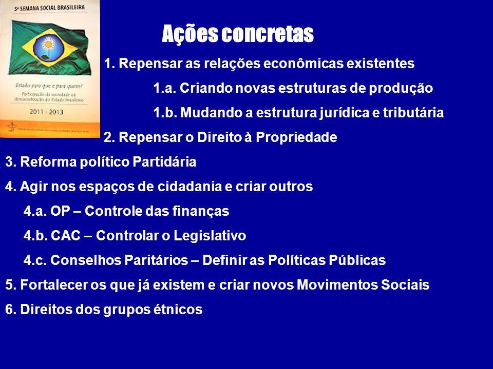 Ações concretas 1. Repensar as relações econômicas existentes 1.a. Criando novas estruturas de produção 1.b. Mudando a estrutura jurídica e tributária