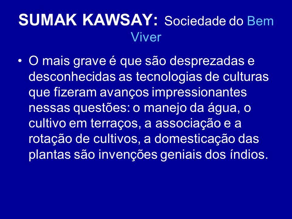 SUMAK KAWSAY: Sociedade do Bem Viver O mais grave é que são desprezadas e desconhecidas as tecnologias de culturas que fizeram avanços impressionantes