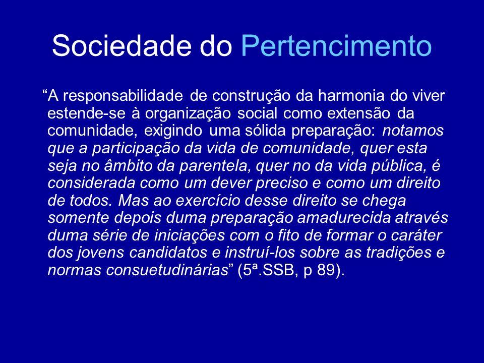 Sociedade do Pertencimento A responsabilidade de construção da harmonia do viver estende-se à organização social como extensão da comunidade, exigindo