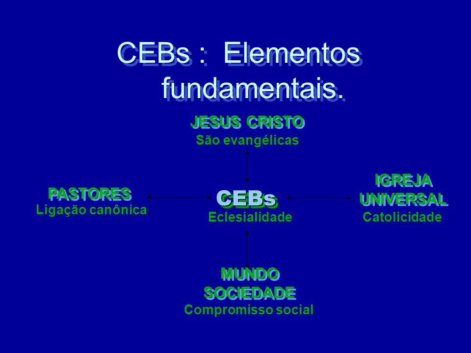CEB s : Elementos fundamentais. CEB s : Elementos fundamentais. São evangélicas PASTORES Catolicidade MUNDO SOCIEDADE MUNDO SOCIEDADE Compromisso soci