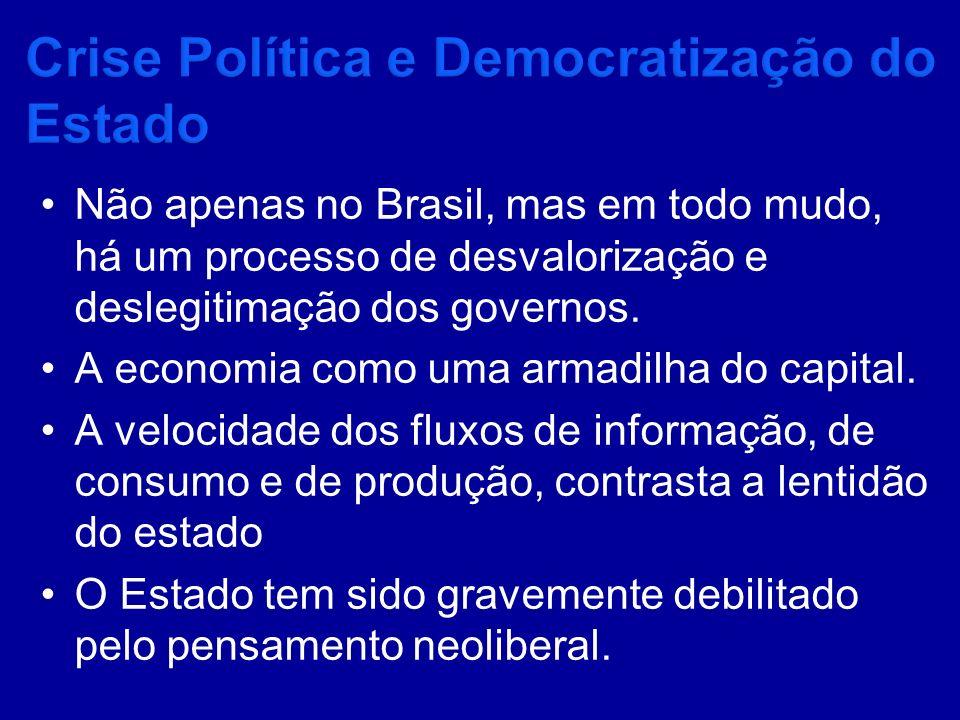 Não apenas no Brasil, mas em todo mudo, há um processo de desvalorização e deslegitimação dos governos. A economia como uma armadilha do capital. A ve