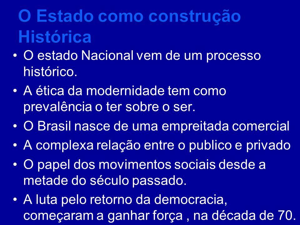 O estado Nacional vem de um processo histórico. A ética da modernidade tem como prevalência o ter sobre o ser. O Brasil nasce de uma empreitada comerc
