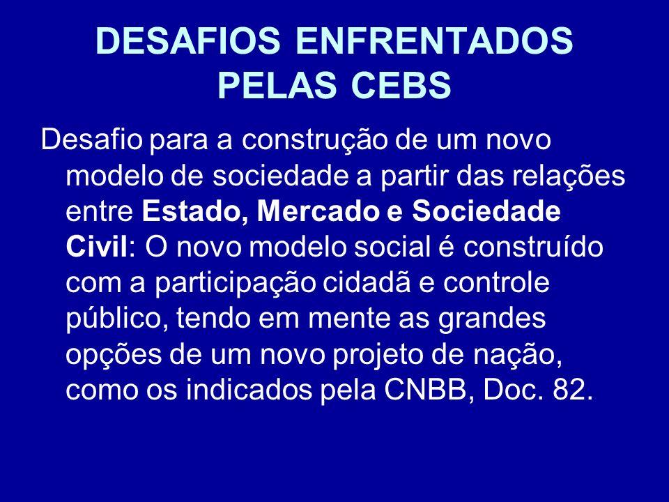 DESAFIOS ENFRENTADOS PELAS CEBS Desafio para a construção de um novo modelo de sociedade a partir das relações entre Estado, Mercado e Sociedade Civil