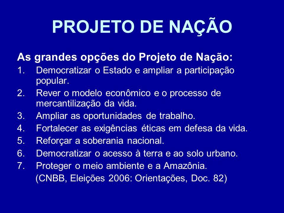 PROJETO DE NAÇÃO As grandes opções do Projeto de Nação: 1.Democratizar o Estado e ampliar a participação popular. 2.Rever o modelo econômico e o proce