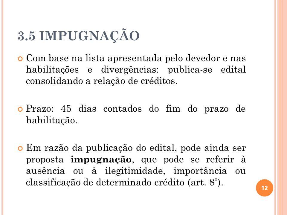 3.5 IMPUGNAÇÃO 12 Com base na lista apresentada pelo devedor e nas habilitações e divergências: publica-se edital consolidando a relação de créditos.