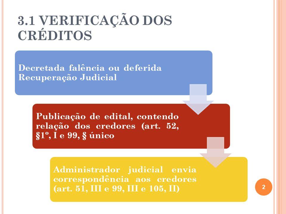 3.1 VERIFICAÇÃO DOS CRÉDITOS Decretada falência ou deferida Recuperação Judicial Publicação de edital, contendo relação dos credores (art. 52, §1º, I