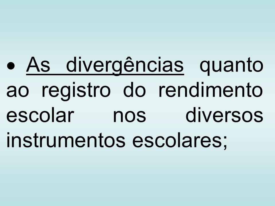 As divergências quanto ao registro do rendimento escolar nos diversos instrumentos escolares;