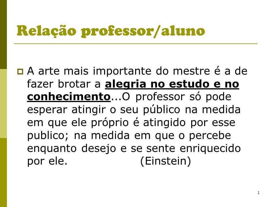 1 Relação professor/aluno A arte mais importante do mestre é a de fazer brotar a alegria no estudo e no conhecimento...O professor só pode esperar ati