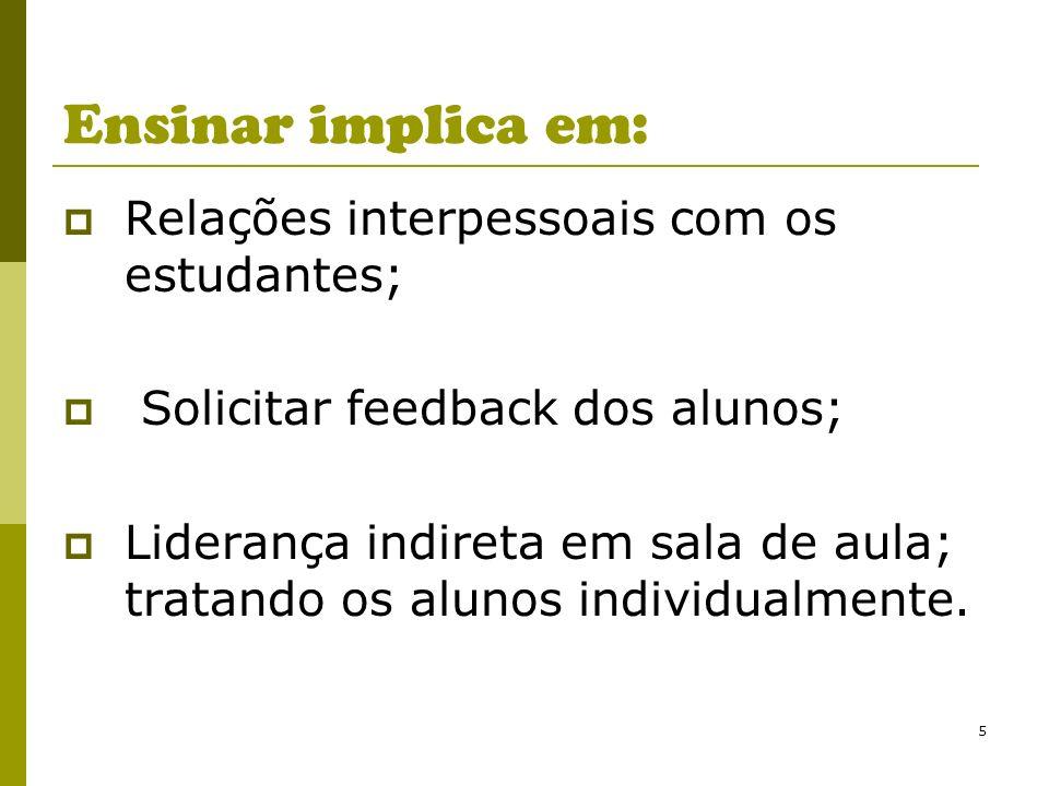 5 Ensinar implica em: Relações interpessoais com os estudantes; Solicitar feedback dos alunos; Liderança indireta em sala de aula; tratando os alunos