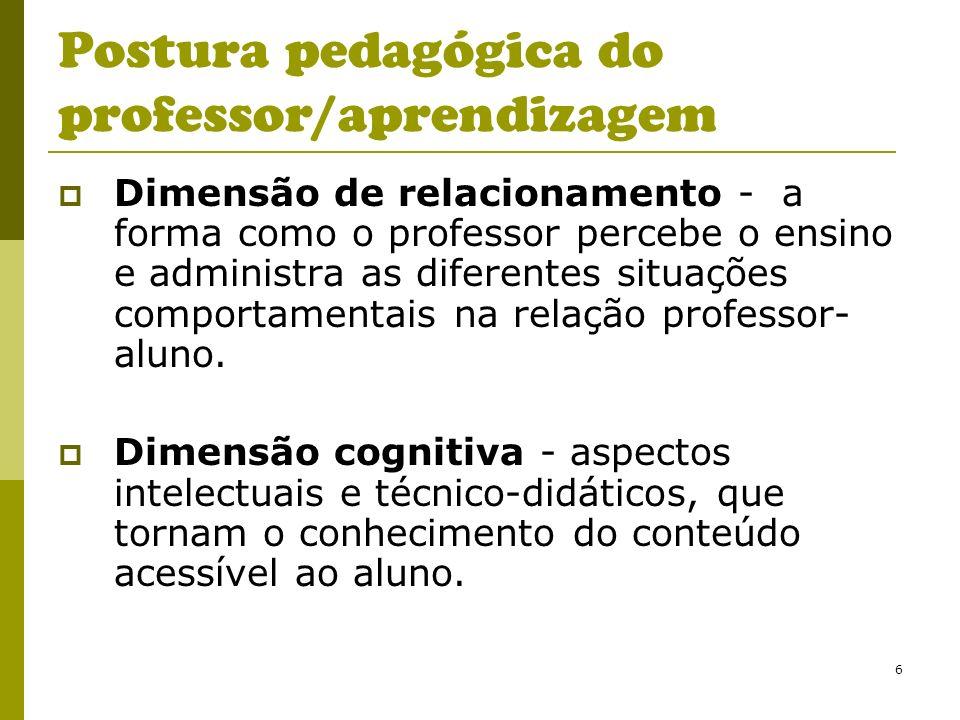 6 Postura pedagógica do professor/aprendizagem Dimensão de relacionamento - a forma como o professor percebe o ensino e administra as diferentes situa