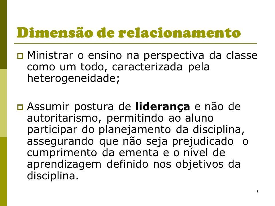 8 Dimensão de relacionamento Ministrar o ensino na perspectiva da classe como um todo, caracterizada pela heterogeneidade; Assumir postura de lideranç