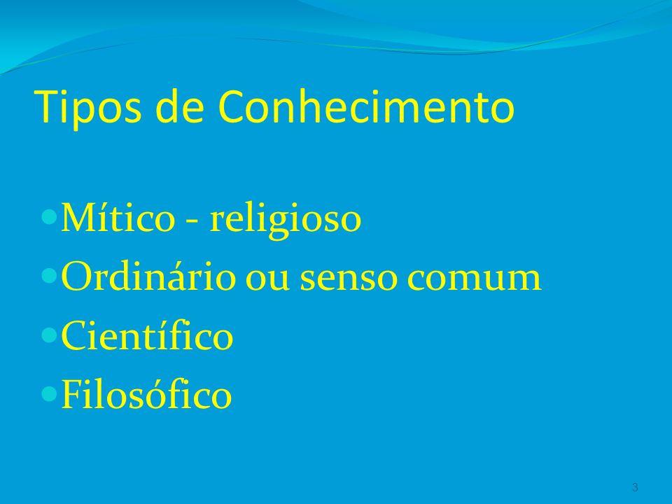Tipos de Conhecimento Mítico - religioso Ordinário ou senso comum Científico Filosófico 3