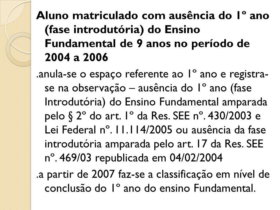 Aluno matriculado com ausência do 1º ano (fase introdutória) do Ensino Fundamental de 9 anos no período de 2004 a 2006.anula-se o espaço referente ao
