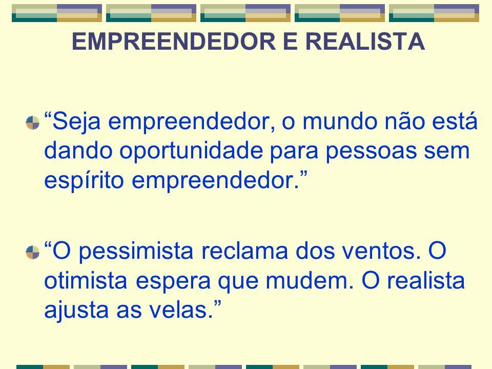 Seja empreendedor, o mundo não está dando oportunidade para pessoas sem espírito empreendedor. O pessimista reclama dos ventos. O otimista espera que