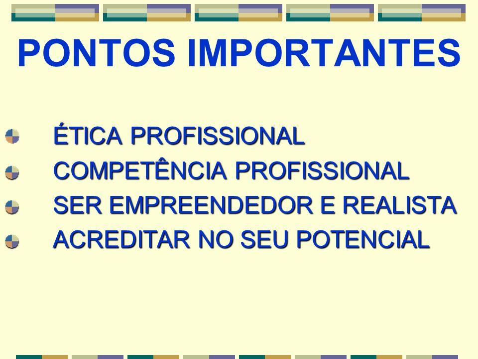 ÉTICA PROFISSIONAL COMPETÊNCIA PROFISSIONAL SER EMPREENDEDOR E REALISTA ACREDITAR NO SEU POTENCIAL PONTOS IMPORTANTES