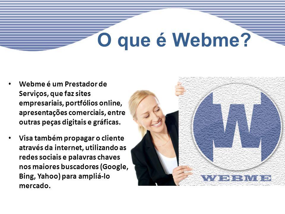 O que é Webme? Webme é um Prestador de Serviços, que faz sites empresariais, portfólios online, apresentações comerciais, entre outras peças digitais